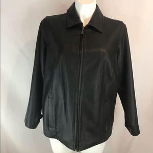 Eddie Bauer 1X Women's Black Leather Zip Jacket